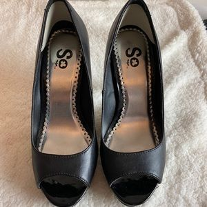 SO brand black peep toe high heels